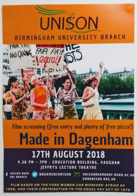 UNISON University of Birmingham Branch presents Made In Dagenham free film screening, Friday 17 August at 4.30 pm