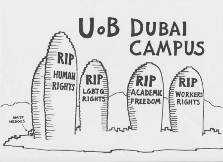 Poster of UoB Dubai campus with