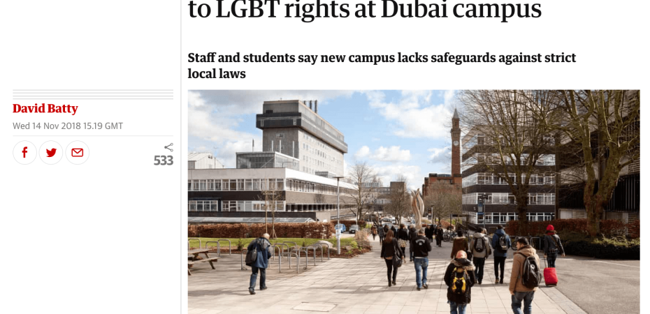 Screenshot of The Guardian story ' Birmingham University warned of risk to LGBT rights at Dubai campus'.