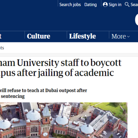 Image of The Guardian news story on Birmingham UCU's decision to boycott the Dubai campus