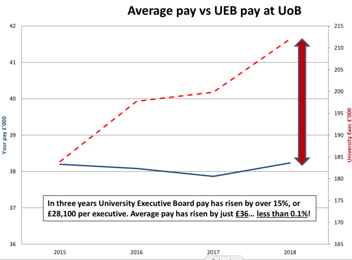 Chart showing the pay gap between average staff, executive staff and Vice-Chancellor Sir David Eastwood