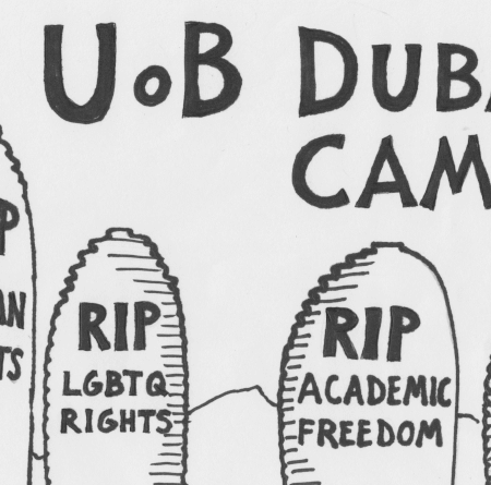 University of Birmngham Dubai academic boycott poster with tall buildings representing gravestones with the words 'RIP human rights', 'RIP LGBTQ rights', 'RIP academic freedom' and 'RIP workers rights'.