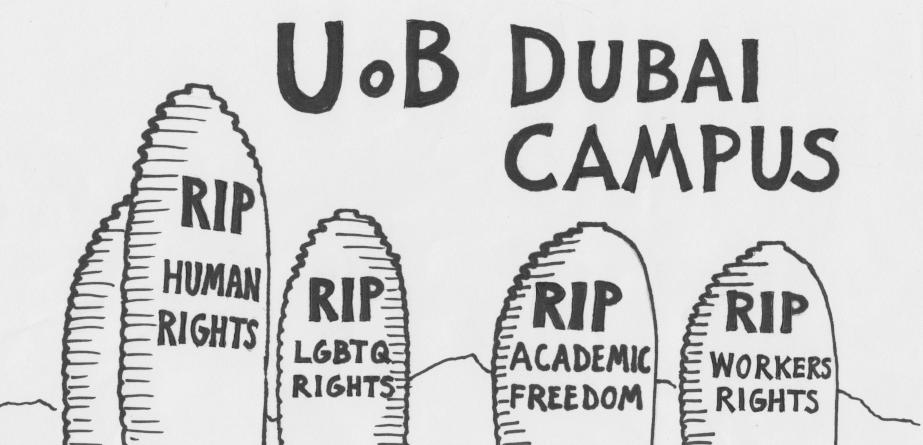 University of Birmngham Dubai academic boycott poster with tall buildings representing gravestones with the words 'RIP human rights', 'RIP LGBTQ rights', 'RIP academic freedom' and 'RIP workers rights'.