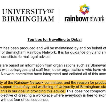 "Rainbow Network ""Top tips for travelling to Dubai"" guidance"