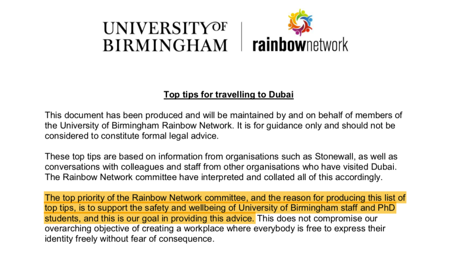 """Rainbow Network """"Top tips for travelling to Dubai"""" guidance"""