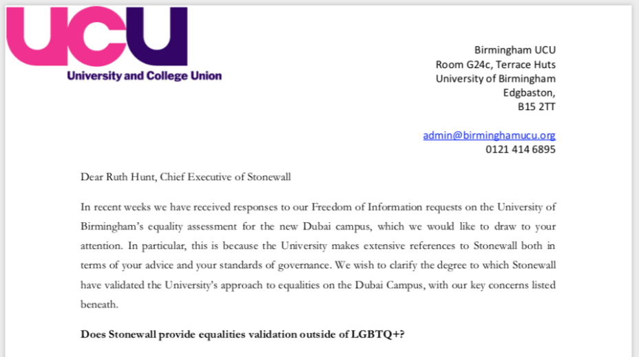 Copy of Birmingham UCU letter to Stonewall LGBT charity seeking