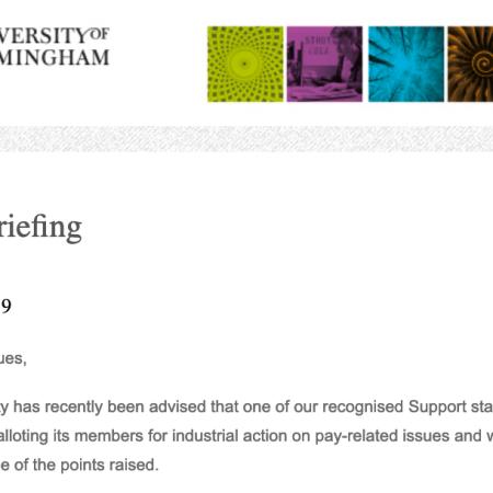Screenshot of Tim Jones' UoB Briefing email on the UNISON UoB strike ballot