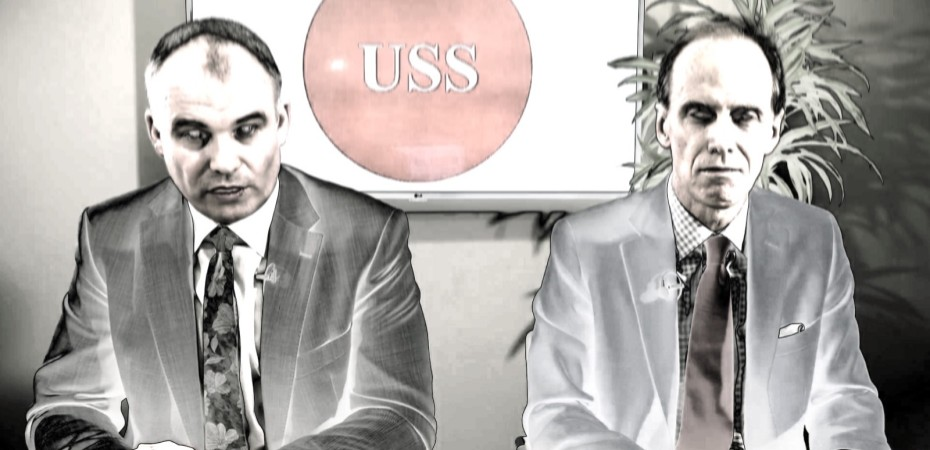 USSbriefs image showing negative-style image of USS pension scheme managers