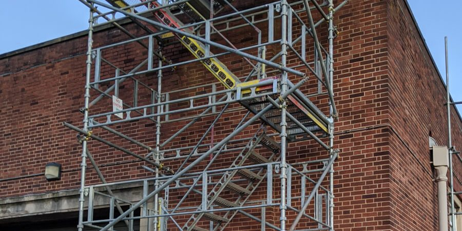 close-up of scaffolding on a building i