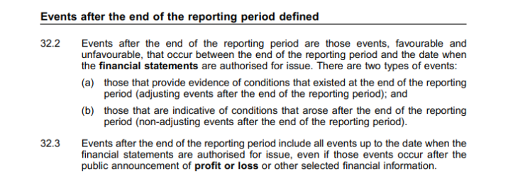 Excerpt of University of Birmingham annual accounts dealing with end of reporting period details